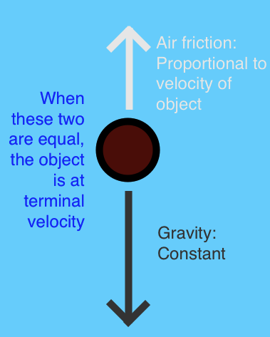 An illustration of terminal velocity.