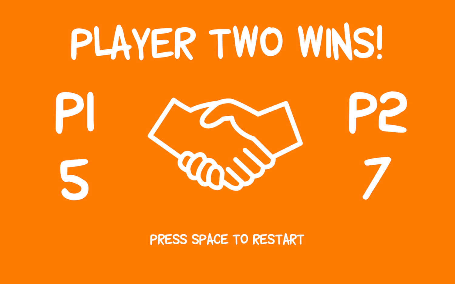 The score screen of Not-so-stranger, showing Player 2 winning by 5 points to 7 points.