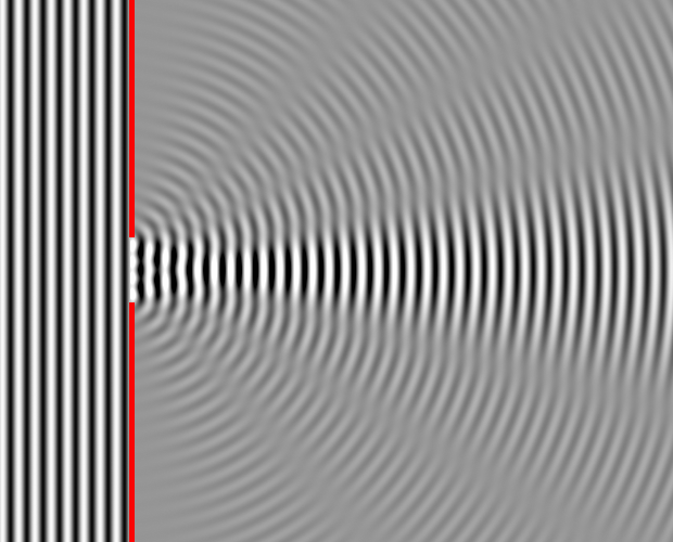 Diffraction of waves through a small slit.